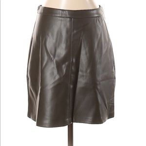NWT Mango Faux Leather Skirt Olive Green  XS